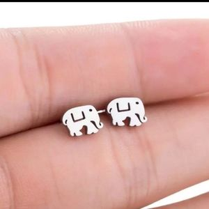 NEW Silver Elephant Stud Earrings